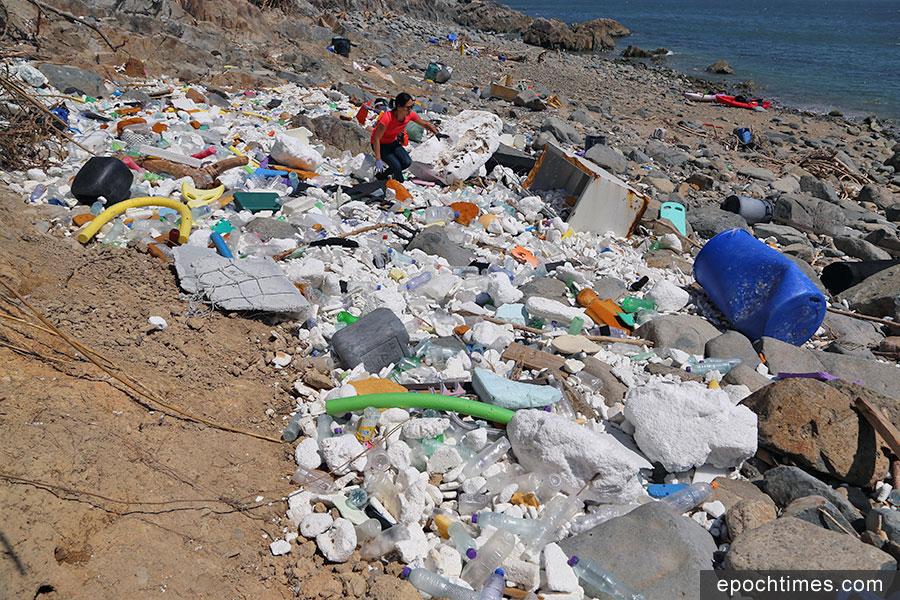 海洋拾荒者Kitti經常到訪西貢區內不同的海灘,協助清理垃圾。(陳仲明/大紀元)