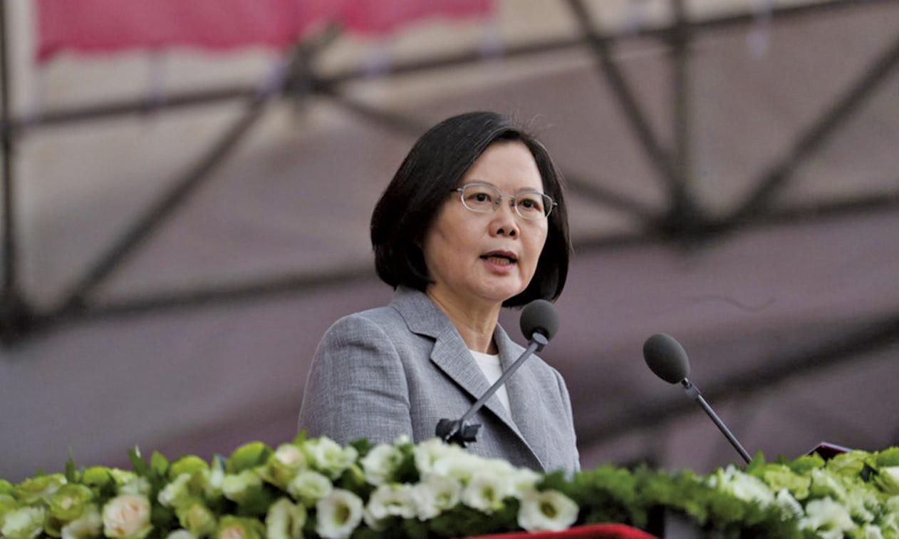 蔡英文在台灣雙十節慶典發表演說。(中央社)