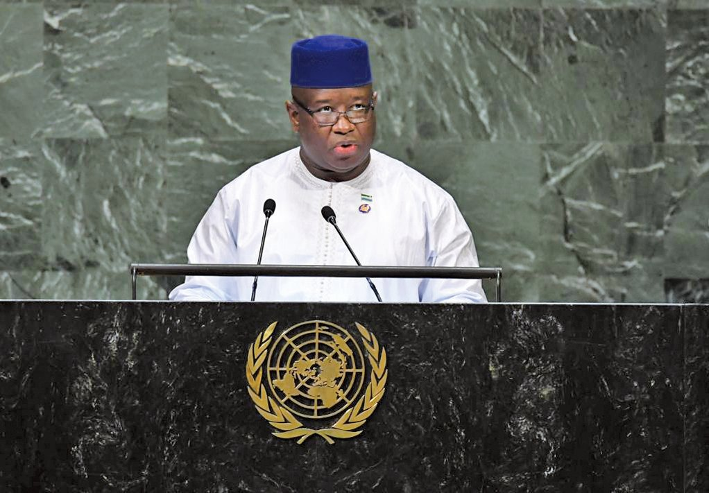 塞拉利昂新總統比奧取消了價值4億美元、在首都弗里敦(Freetown)外建新機場的中資項目。圖為比奧。(AFP)
