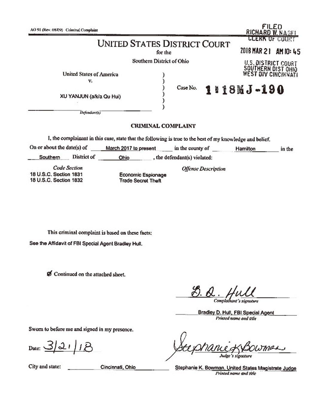 10月10日,美國司法部指控一名中共國安官員涉嫌竊取美國公司商業機密,並將他引渡至美國。圖為美國司法部公佈的文件。(美國司法部網站)