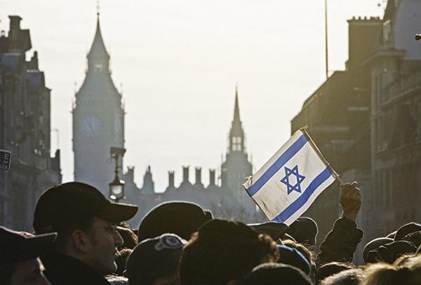 以色列國旗的藍色六芒星,即被稱為「大衛之星」。(AFP)