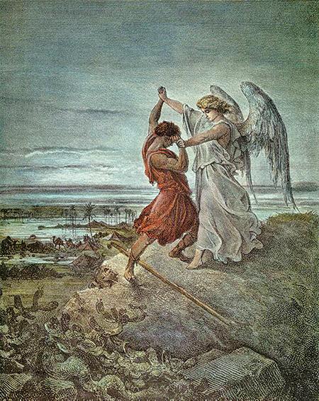 《雅各與天使角力》;古斯塔夫.多雷木刻畫,1855年作品。(公有領域)