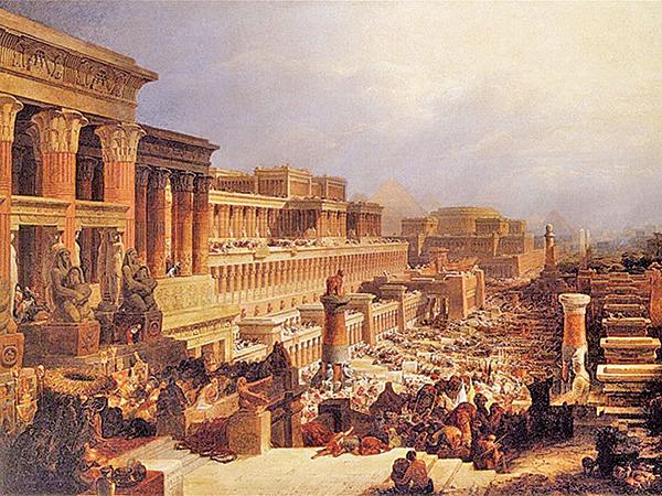 《出埃及記》(The Israelites Leaving Egypt),David Roberts,1828年。(公有領域)