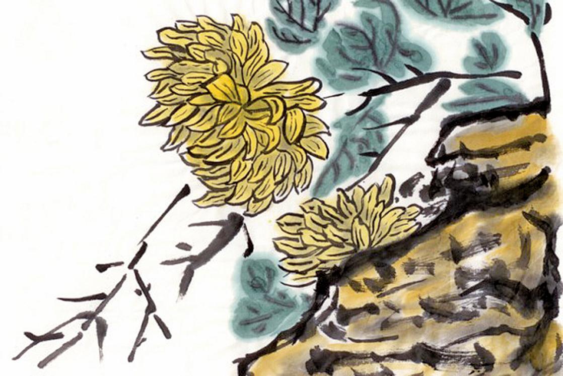 中國畫菊花石(fotolia)