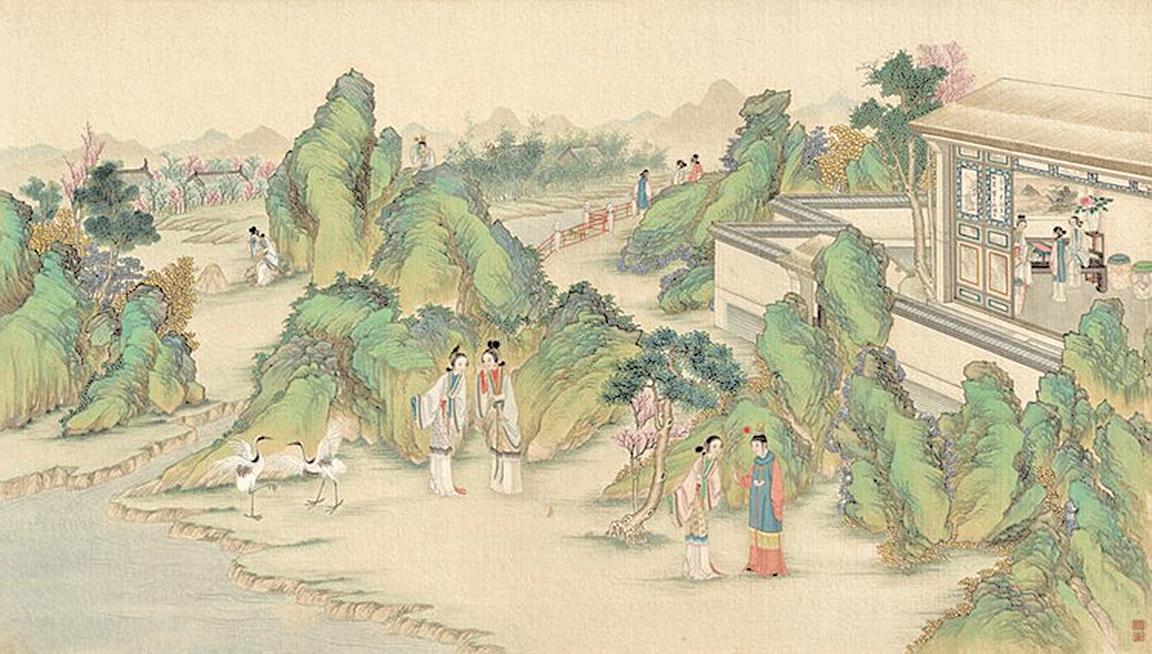 黛玉葬花,清代孫溫繪(公有領域)