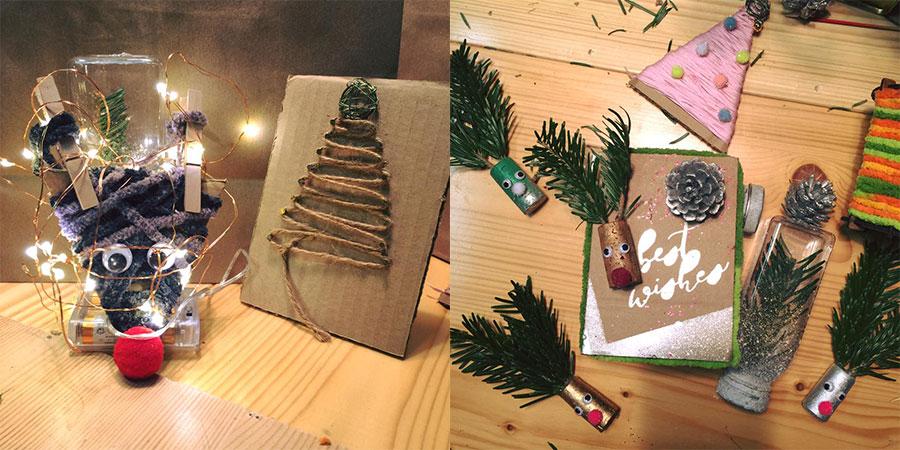 GreenActs舉辦的聖誕禮物工作坊,小朋友們使用環保元素設計的聖誕飾物。(GreenActs Facebook)