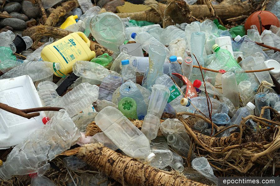 被沖上海岸的膠樽幾乎全部被除去招紙,大部份被除去膠蓋。(曾蓮/大紀元)