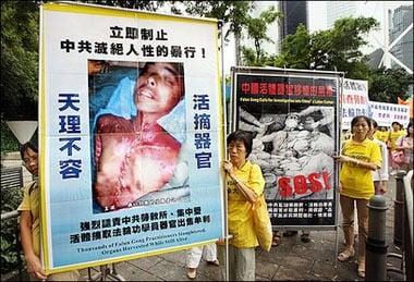 法輪功學員在海外抗議中共活摘法輪功學員器官。(明慧網)