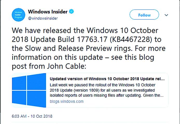 微軟將分階段測試修補程式,Windows 10的新版十月更新已釋出給Windows Insider計畫開發人員。(@windowsinsider)