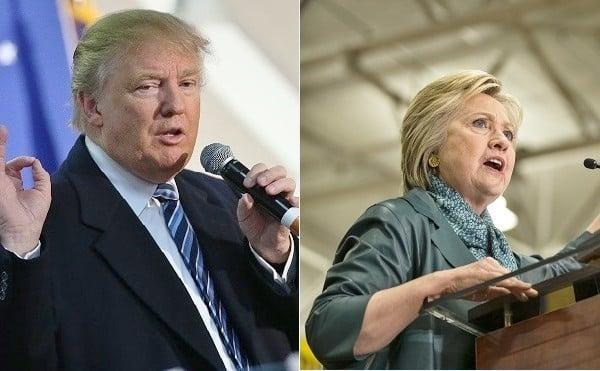 美國總統大選兩黨選情塵埃落定。特朗普(圖左)和希拉莉(圖右)分別代表共和黨與民主黨角逐白宮大位。(Getty Images/大紀元合成)