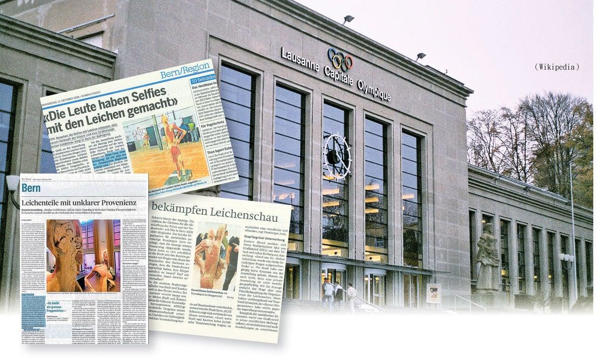 原定10月19至21日在瑞士洛桑市博利厄宮舉行的「真實人體展」,因懷疑展品來自被迫害致死的法輪功學員,被市政府禁止舉行,受到瑞士報章(左起)《聯邦報》、《20分鐘》報、《伯恩人》報等主流傳媒關注報道。(報章截圖)(Wikipedia)