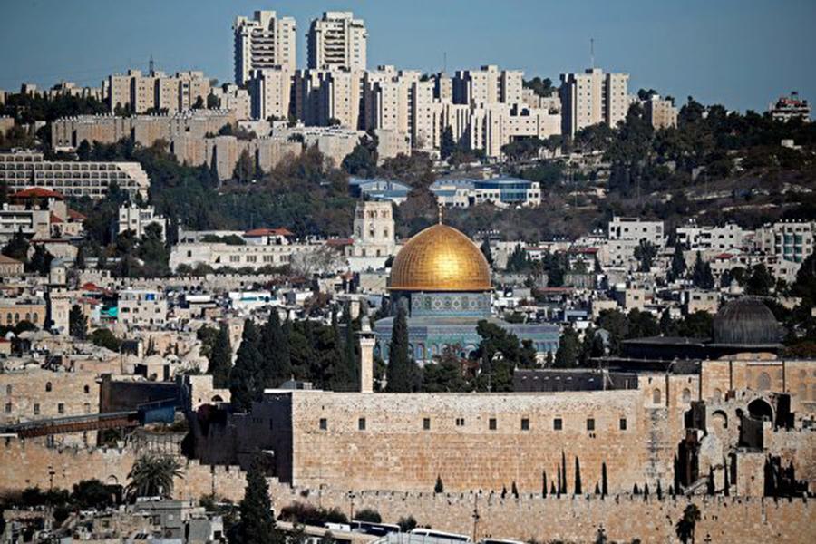 美國駐以色列大使館於5月14日從特拉維夫正式遷往耶路撒冷,兌現了美國二十多年前的承諾。(THOMAS COEX/AFP/Getty Images)