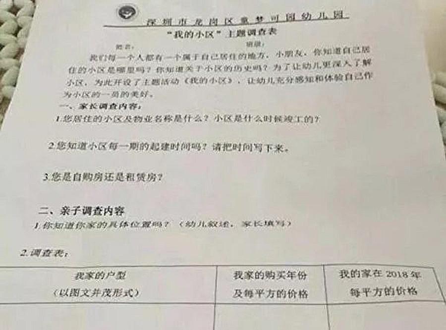 深圳市一幼兒園曾給孩子們下發《「我的小區」主題調查表》,家長們對此提出質疑。(微博圖片)