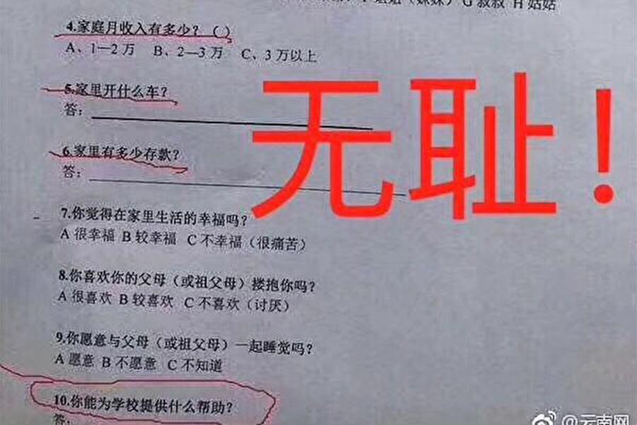 上海一小學假期作業被指「查家底」 引熱議