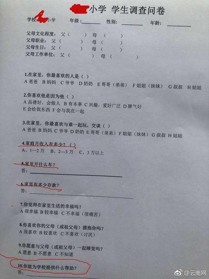 上海市一所小學近日佈置的工作中要求學生寫出家庭存款等內容,備受輿論詬病。(微博圖片)