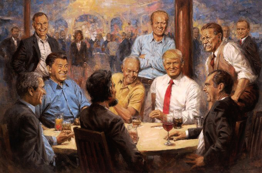 白宮新畫:特朗普與歷屆共和黨總統談笑風生