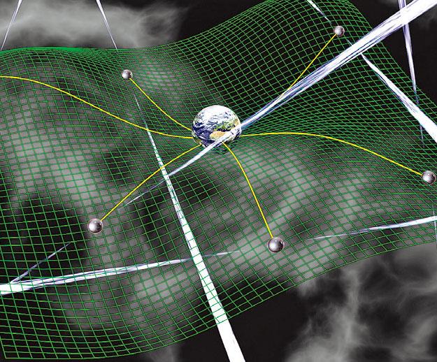 根據廣義相對論,引力波以彎曲空 間的形式存在。(NASA)