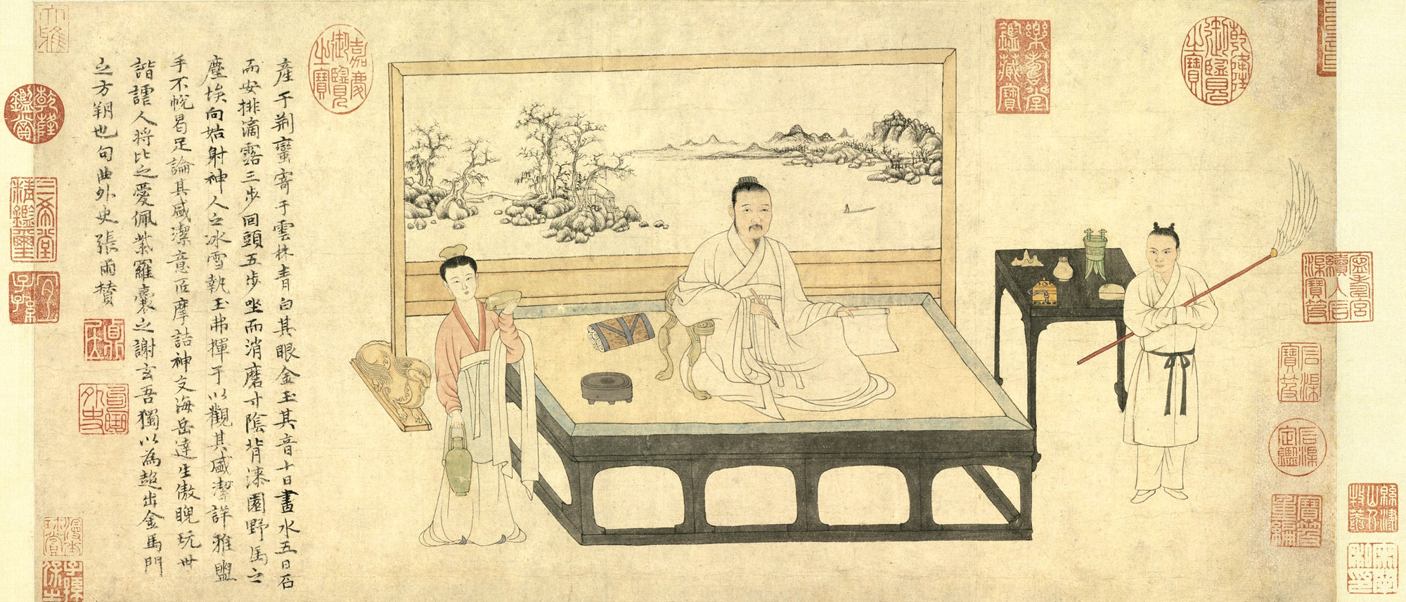 據張雨(1283~1350)題贊,畫中的主角是「元四大家」之一的倪瓚(1301~1374)。(公有領域)