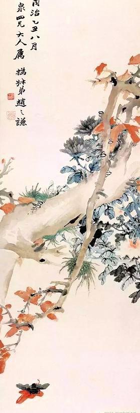 清 趙之謙《枝頭秋色圖》軸。(東京國立博物館)(公有領域)