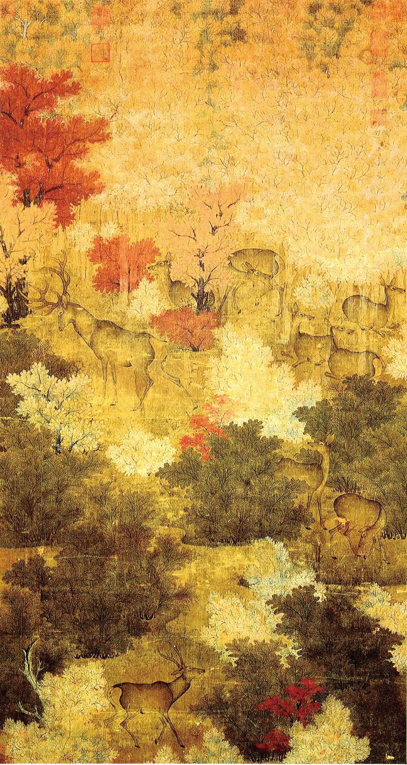 五代 佚名《秋林群鹿圖》。(台北故宮博物院藏/公有領域)