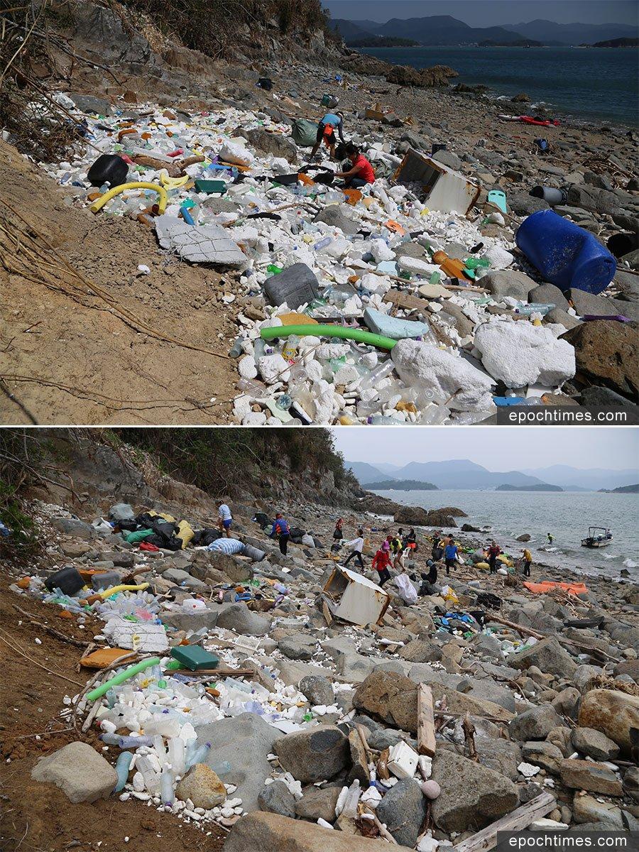 西貢蕉坑對出、介乎西貢污水處理廠與白馬咀之間的一處海灘在六次淨灘行動後(下),仍餘下不少塑膠垃圾,有待清理。上圖為本月初的垃圾分佈情況。(陳仲明/大紀元)