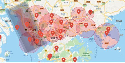 大陸大型空拍機生產商DJI(大疆)網頁GEO系統顯示,深圳大範圍地區被禁飛。(網頁截圖)