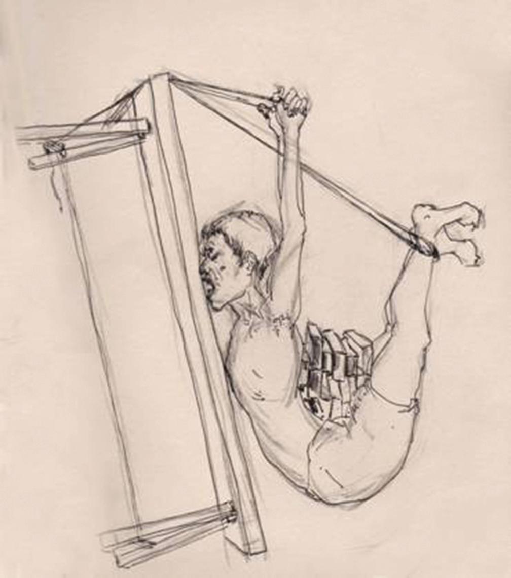 「背磚」酷刑。(民主中國)