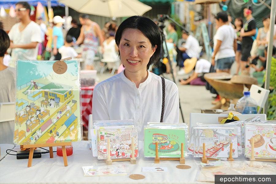 Mango常常參與不同的市集分享她的作品。圖為大澳中秋佳燈會市集攤位。(陳仲明/大紀元)