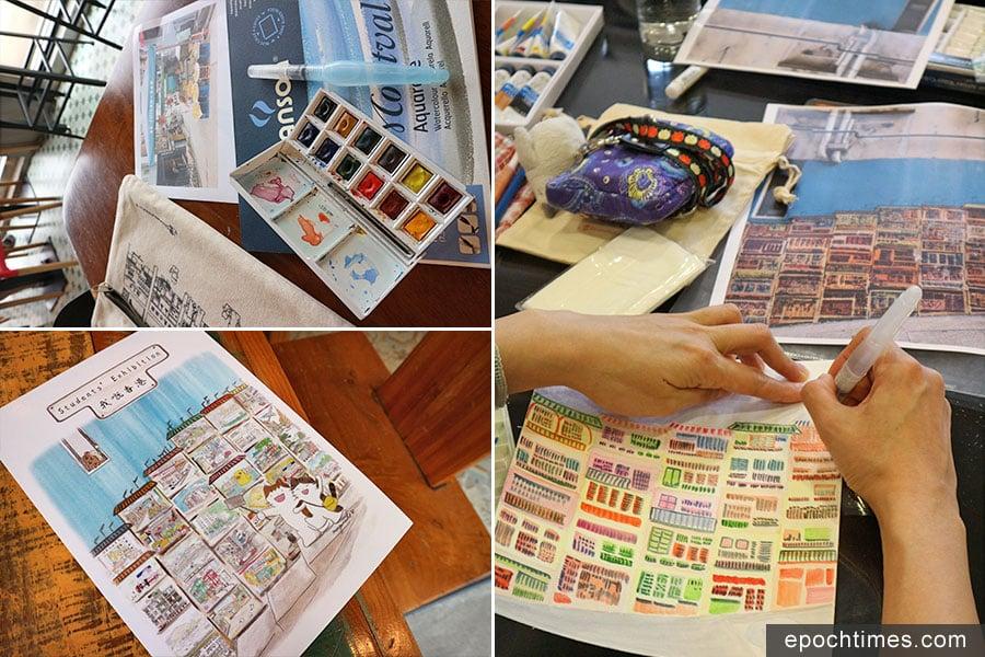 伴著咖啡的醇香,水彩的繽紛,日籍居港插畫師Mango與她的學生們一起,將香港社區的點點滴滴變成一幅幅富有趣味的彩色插畫。(受訪者提供)