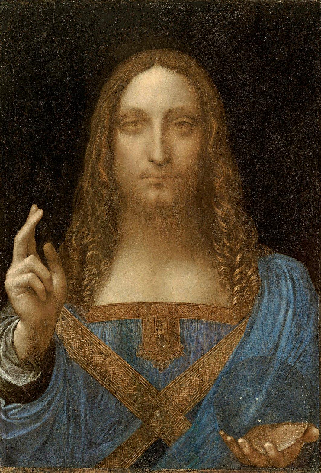 達文西畫作《救世主》,2017年以4億5,000萬美元售出,創下單一藝術品的最高拍賣價紀錄。(維基百科)