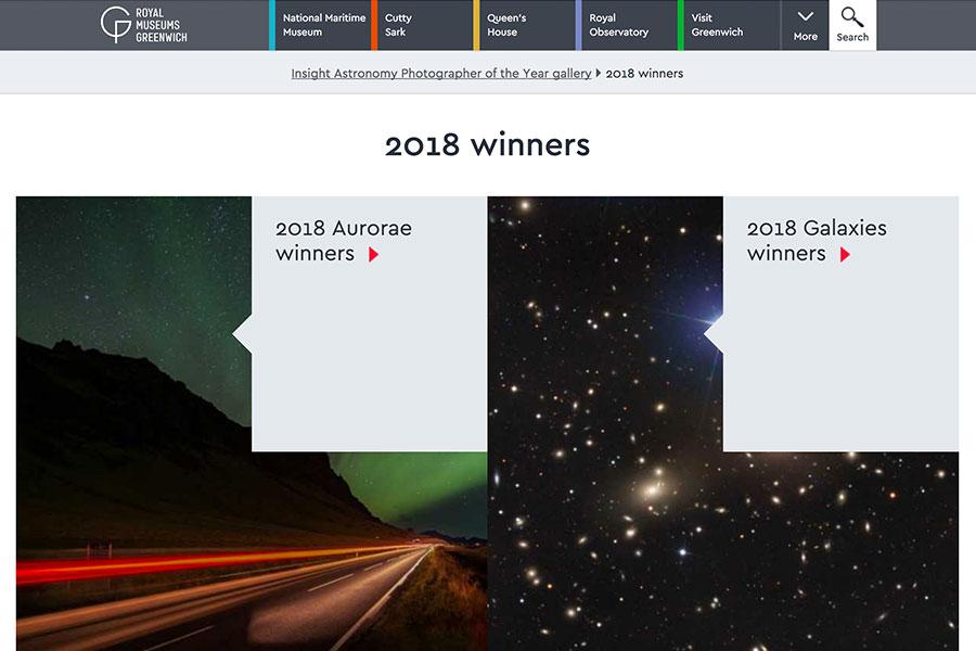 英國格林威治皇家天文台年度攝影大賽(The Insight Astronomy Photographer of the Year competition)共分為九個類別。(Royal Museums Greenwich官方網頁擷圖)