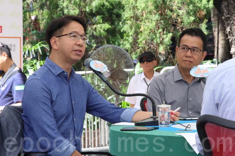資訊科技界議員莫乃光(左)建議,立例強制企業或機構通報資料外洩,又認為歐盟72小時通報期限合理。(蔡雯文/大紀元)