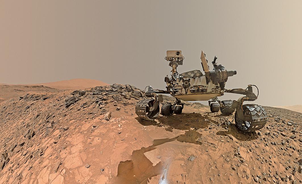 NASA與加州理工學院的科學家發現,火星表面的鹹水可能含有足夠的氧氣可供微生物之類的生命生存。圖為藝術家繪製的火星2020探測車。(NASA)