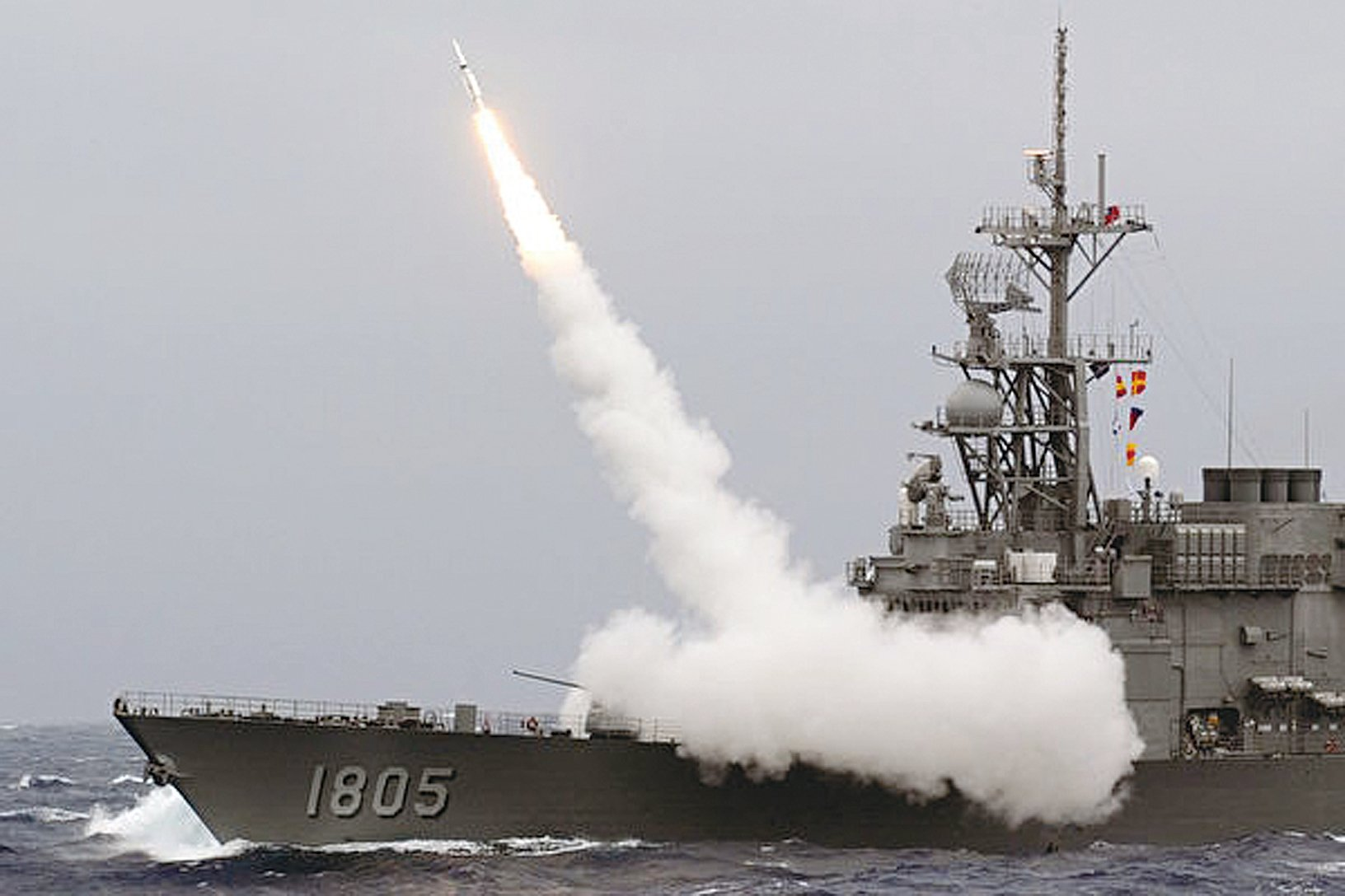 美國宣佈退出《中程導彈條約》,表面是敲打俄羅斯,實則劍指中共。圖為中華民國海軍軍事演習。 (SAM YEH/AFP/Getty Images)