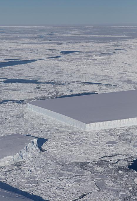 NASA公佈了一張矩形冰山的照片,看起來像是切好的蛋糕。(NASA)