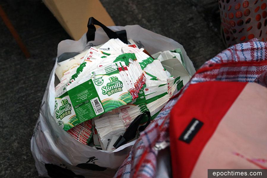 不是垃圾站收集到的部份飲品包裝紙盒。(陳仲明/大紀元)