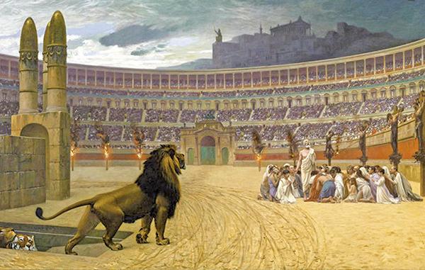 法國歷史畫畫家讓萊昂杰羅姆(Jean-Léon Gérôme),〈基督教殉道者最後的祈禱〉,美國巴爾的摩市沃爾特斯美術館藏。(公有領域)