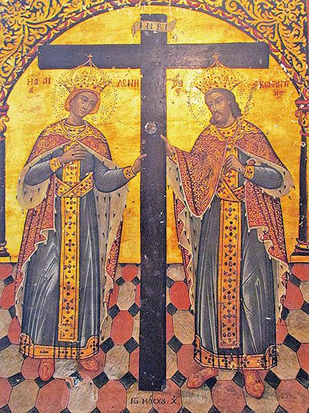君士坦丁大帝與其母聖海倫納,相傳海倫納找到耶穌受刑的真十字架。(Gmihail/ Serbian Wikipedia)
