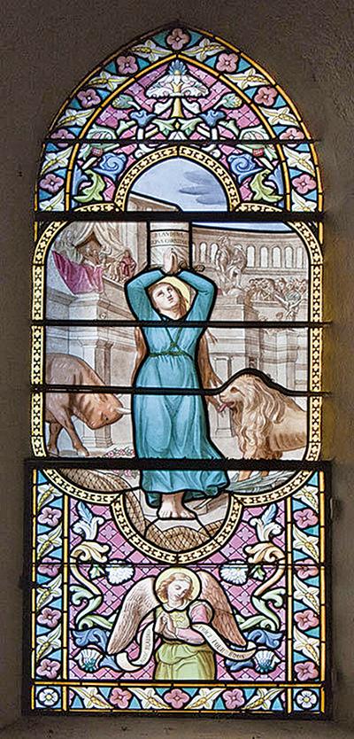 聖白蘭帝娜殉教嵌窗,Alexandre Mauvernay作品。(Daniel Villafruela/Wikimedia Commons)