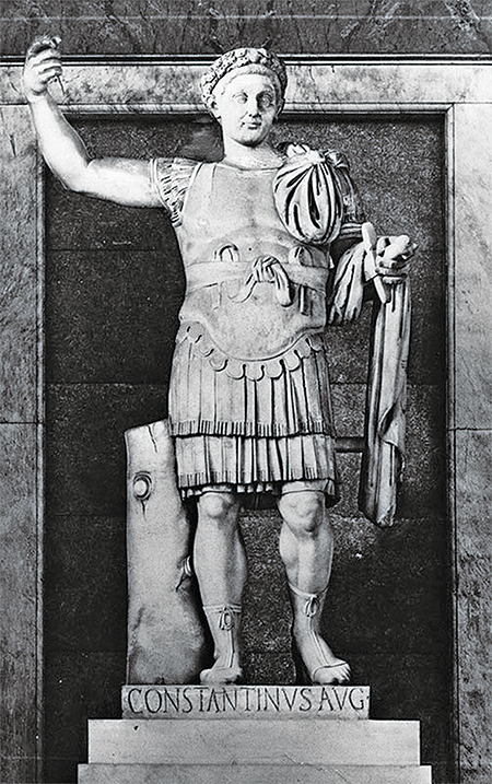 君士坦丁在王位爭霸戰中因神的幫助而勝出,他是第一位信仰基督教的羅馬皇帝,也是終止官方對基督教的迫害並使基督教成為合法宗教的皇帝。(Hulton Archive/Getty Images)