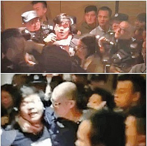 10月29日,長租寓見公寓和愛公寓(愛生活愛公寓)約有600多名受害人,聚集在元寶e家上海辦事處,強烈要求解除貸款協議,警察與保安人員圍堵並毆打受害人。(影片截圖)