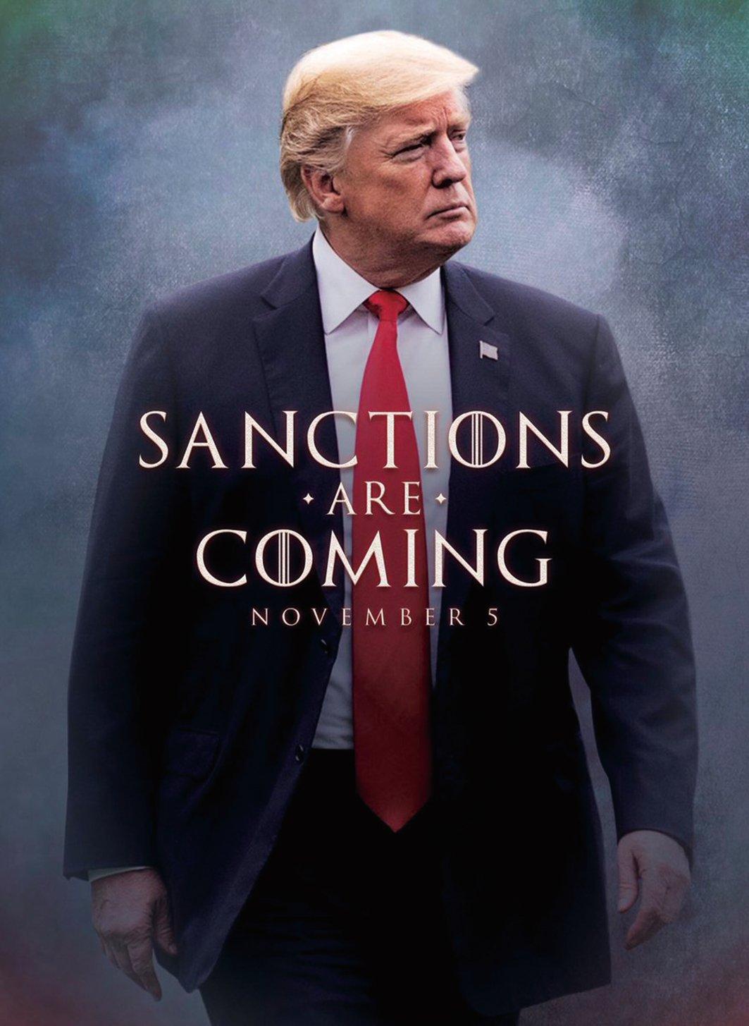 11月5日美國對伊朗實施第二輪制裁,也是歷年來最嚴厲的制裁。(圖片取自特朗普總統推特)