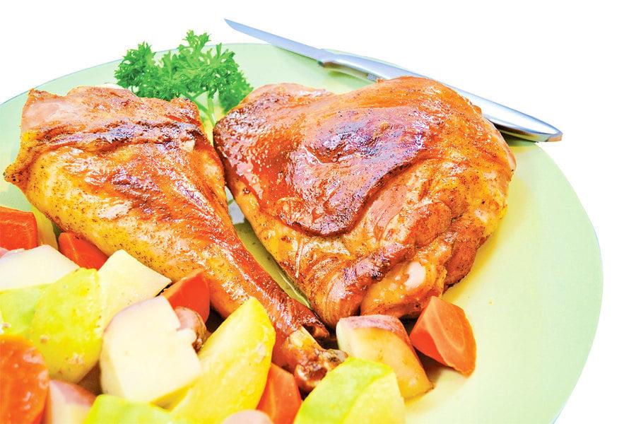 【梁廚美食】焗火雞腿雜菜