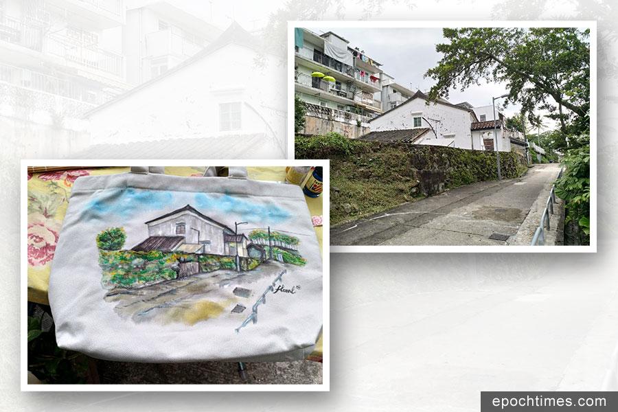 從小在西貢長大的她對西貢充滿了感情,近日更用她的畫筆在環保袋上記錄下西貢舊屋的風景。(受訪者提供)