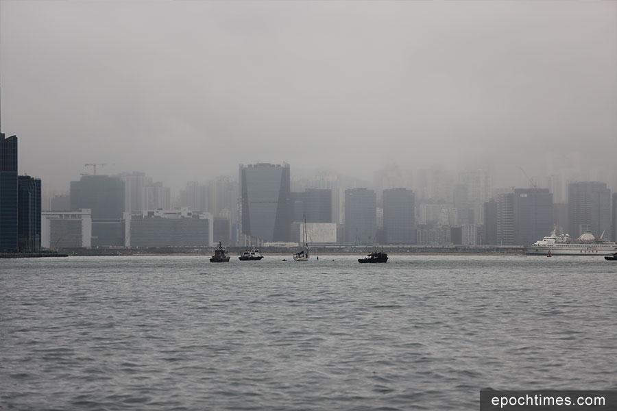 11月3日上午7時許,Edie Hu正在維多利亞港內,向啟德舊跑道游泳進發。(陳仲明/大紀元)