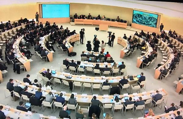 聯合國人權理事會昨日在瑞士日內瓦舉行對中國人權狀況的第三次定期審議。(直播截圖)
