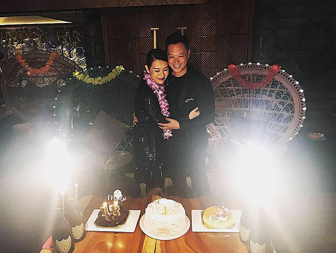 胡杏兒(左)與老公李乘德(右)婚後夫妻恩愛有加。(胡杏兒臉書圖片)