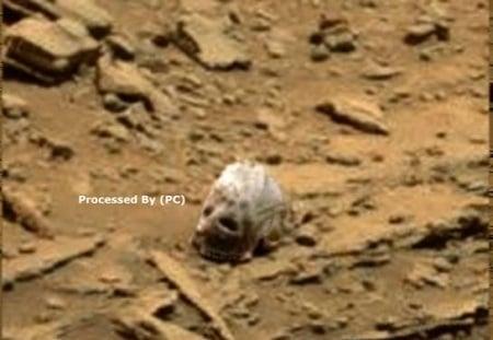 近日有UFO愛好者在美國太空總署(NASA)發布的火星照片上,發現了一個酷似頭骨的神秘物體,隨即引發人們關於是否有外星人的猜測。(YouTube視頻截圖)