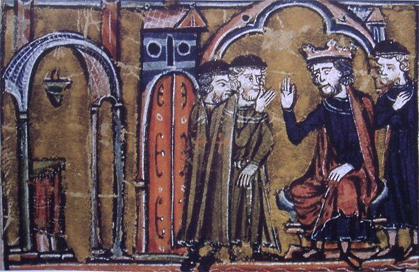 耶路撒冷國王鮑德溫二世將聖殿山移交給聖殿騎士,13世紀繪畫。(公有領域)