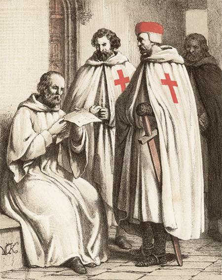 為了保衛聖地,二位來自法國的騎士,在1119年提議成立「聖殿騎士團」。1129到1291年,聖殿騎士幾乎參與了所有保衛聖地的戰爭,是西亞基督教國家的重要支柱。(公有領域)